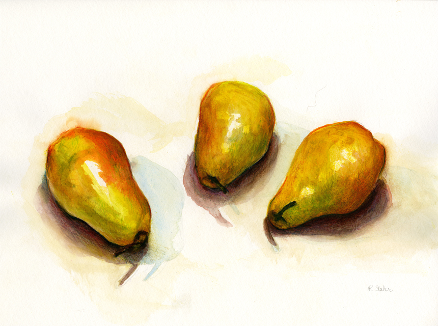 Watercolor Pear Study by Rebecca Stahr