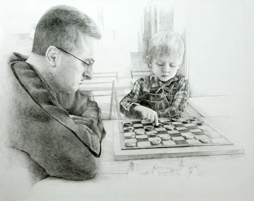 Graphite Pencil - Checkers - By Artist Rebecca Stahr