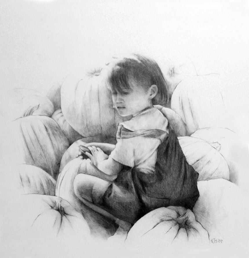 Graphite pencil drawing - pumpkin patch - by artist rebecca stahr