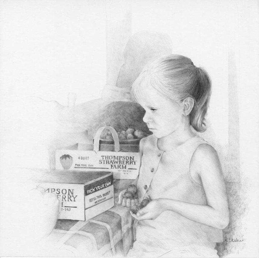 Strawberry Jam - graphite pencil - 12x12 - Artist Rebecca J Stahr