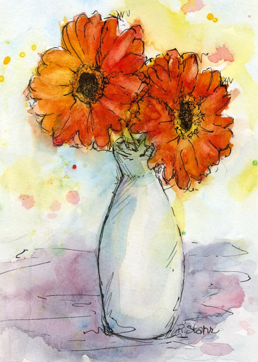 Gerbera Pair in Bud Vase