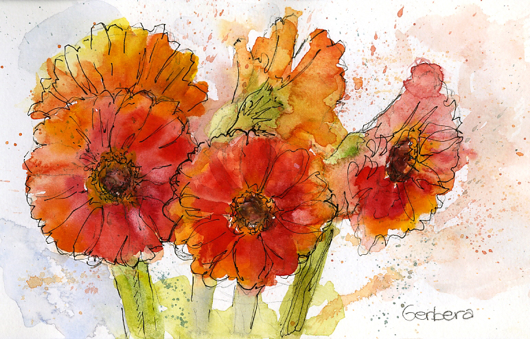 Gerbera Watercolor and Ink Painting