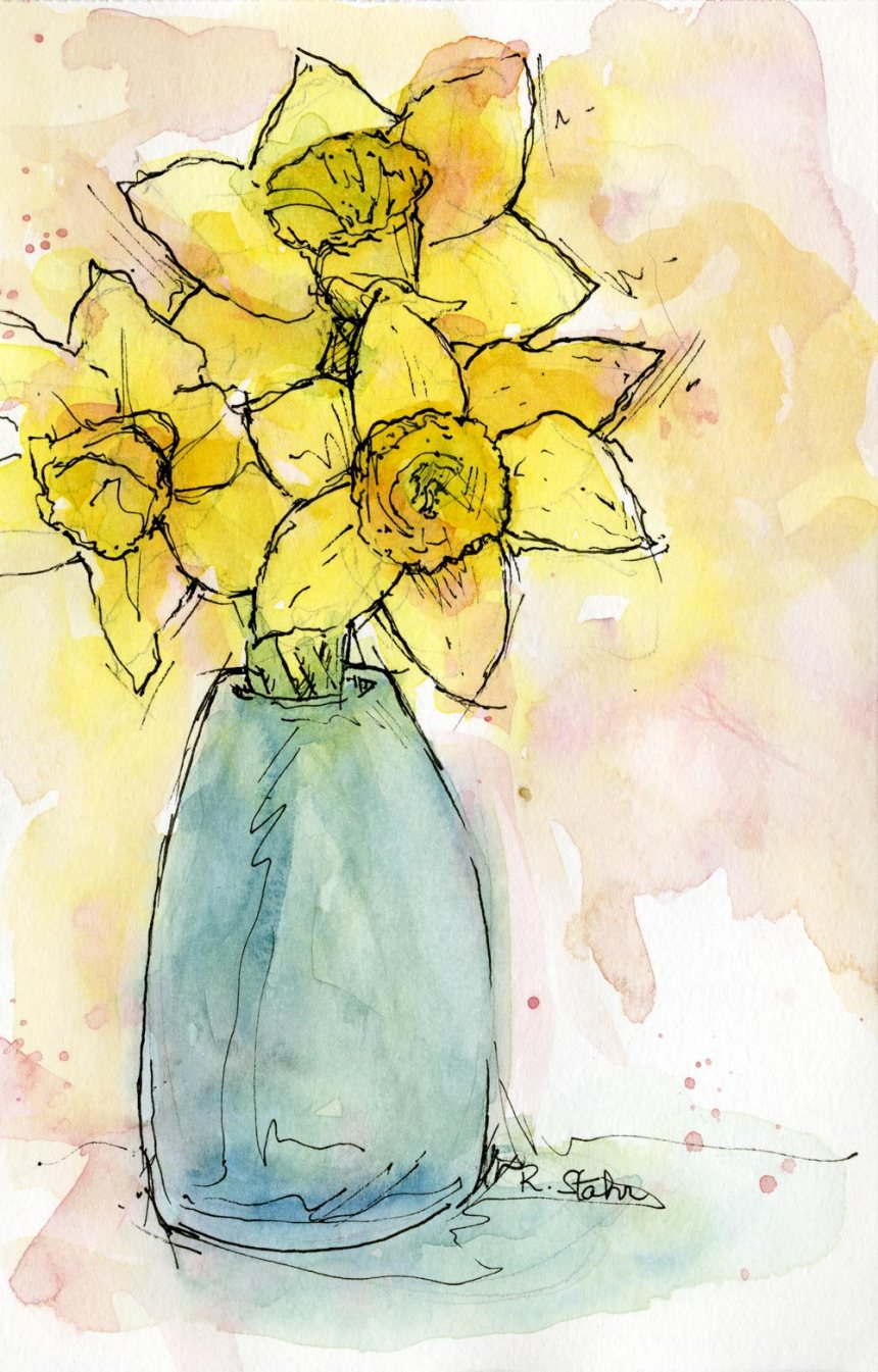 2013_watercolorandInk_DaffodilsInBlue001_web